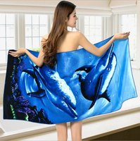 Wholesale Superfine fiber Printed beach towel dolphin Bath Towels cm quickly dry towe for beach or outdoorsl