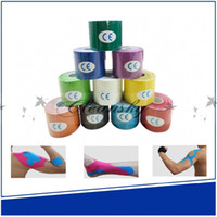 Wholesale DHL Fedex Free Sports Kinesiology Tape Gym Kinesio Roll Cotton Elastic Adhesive Muscle Bandage Strain Injury Support cm x m M463