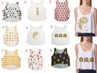 Wholesale Women Emoji Tanks cotton Loose Emoji D printing vest Camis Tee summer clothing