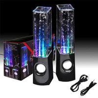 Precio de Fuente de la música llevado-Negro blanco música estéreo LED agua bailando fuente luz altavoces para teléfono móvil