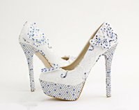 beautiful evening shoes - High Heeled Shoes White Lace Flowers Bride Shoes Blue Rhinestone Round toe Wedding Shoes Beautiful Butterfly Ladies Evening Party Shoes