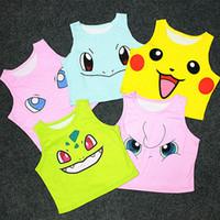 Wholesale Poke Women vest Tanks women s camis Pikachu Jeni turtle Charmander Squirtle Print tank tops Colorful sleeveless T shirts