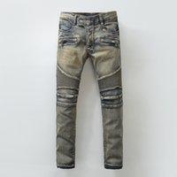 american oil painting - Italian Popular Man Colorful Oil Painting Jeans Men s Trendy Cool Bootcut Denim Balmain Biker Jeans Robin Jeans For Men