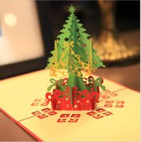 Wholesale Creative Kirigami Origami D Pop UP Greeting Gift Christmas Cards with Xmas Tree Gifts Hot Sale Festive Party Event Supplies