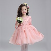 Wholesale A line Knee length Lace Long Sleeve Jewel Flower Birthday Communion Girl Dresses with Crystal Detailing DYT