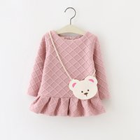 baby winter bag - Good quality colors baby full sleeve girl Girls kids dress for autumn fall winter with bag as gift