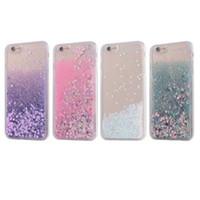 Precio de Iphone bling la rosa-Brillante iPhone 4,7 / 5,5 pulgadas TPU Suave Quicksand Liquid Shell Case púrpura / rosa / blanco / verde Bling corazón patrón teléfono celular casos protectores