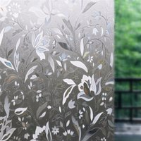 Wholesale 45x100cm Removable Recyclable Glass Door Window Film D Flower Sticker PVC Static Cling Glass Film For Home Garden Decoration