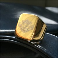 asian motorcycles - 2pcs Newest Design Golden Color Motorcycles Ring L Stainless Steel Biker Style Mens Hot Selling Fashion Golden Plated Biker Ring