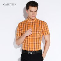 Wholesale New Arrival Summer Mens Short Sleeve Plaid Cotton Shirt Orange Lightwight Button Down Collar Classic Slim fit Casual Shirts