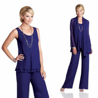Wholesale Royal Blue Mother Of Bride Pant Suit Scoop Sleeveless Chiffon Plus Size Mother Bride Pant Suits With Long Sleeves Jacket