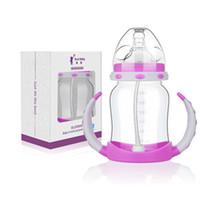 Wholesale Baby infant milk bottle silicone straw newborn children handle drink from plastic bottles