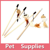 Wholesale 2016 New Fashion Hot Cat Play Wooden Stick Toys Trainning Toy Teaser Pet Cat Supplies Cat Furniture Scratchers