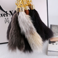 adorn lights led - Fashion Fox Tail Set Auger Bag Buckles Ms Han Edition Is Hanged Adorn Car Key Chain Bag Accessories