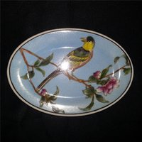 Wholesale Fashion Design Oval Soap Dish floral and birds Design High quality Chinese White Porcelain bathroom Accessories