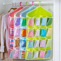 Wholesale Pockets Foldable Wardrobe Hanging Bags Socks Briefs Organizer Clothing Hanger Closet Shoes Underpants Storage Bag JC0202