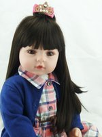 achat en gros de robes marron pour enfants-55cm Adora Toddler Doll Bebe Reborn Girls Cheveux noirs Brown Eyes Girls Brinquedos Reborn Baby Doll In Plaid Dress Kids Gifts
