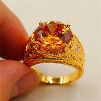achat en gros de pierres jaunes-Taille 8/9/10/11 Vintage 15ct Round Jaune Simulé Diamant CZ Pierre 18K or jaune Rempli Anneau pour hommes