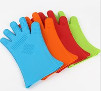Wholesale household Oven Mitts Gloves Heat Resistant Silicone Gloves BBQ Grilling Gloves for Cooking Baking Barbecue Potholder