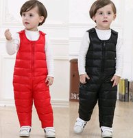 Wholesale YFD1018 Fashion Child Down Jumpsuit Winter Thick Warm Hotpink Blue Black Red Sleeveless Soild Color Cozy Casual Brand Tops Outwear