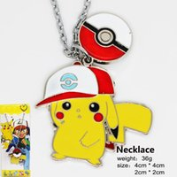 Wholesale Key Ring Links - 2016 Poke Pikachu Necklace Action Cartoon Figure Ball Pendant Necklace Keychain Key Rings Pocket Monster XMAS Gifts Retail Packaging GD-N01