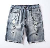 Cheap New Streetwear men jean shorts 2016 Summer Men Ripped hip hop Pants Hole Short Fashion casual Denim Trousers