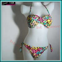 Cheap New Womens Bikini Bathsuit Swimwear Colorful dots soft fabric bandeau size M L XL wholesale free shipping