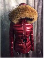 Wholesale Luxury Brand mon ler women jacket winter coat thickening Female Clothes real raccoon fur collar hood down jacket