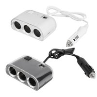 Wholesale 3 Way Car Cigarette Lighter Socket With Dual USB Power Charger Adapter