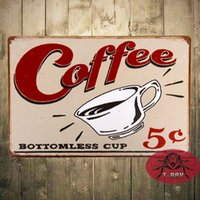 aluminum cent - quot Cent Bottomless Cup quot Metal Poster Coffee signs Distressed Humor Retro Funny Restaurant Bar Wall Decor