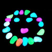 Wholesale 100pcs Luminous Light emitting Artificial Pebble Stone night light Fish Tank Decoration colors mixed sent