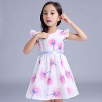 american crane - 2016 Summer New Girl Dress Pineapple Organza Bow Crane Fish Flower Print Dress Children Clothes T GT1605