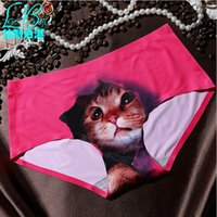 Wholesale Sexy Security - Hot sell 2016 cheap women's Ms girls fashion sexy new Female anti emptied underwear kitty cat head 3D Seamless briefs UK security briefs