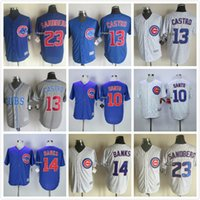 Wholesale New Chicago Cubs Throwback Baseball Jerseys Ron Santo Ernie Banks Ryne Sandberg Starlin Castro Greg Maddux Jersey