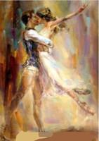 Wholesale Framed Anna Razumovskaya Man woman Dancing kiss Ballet Handmade Portrait Art Oil Painting On High Quality Canvas For Wall Decor Multi Size