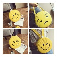 backpack cake - New Style Fashion Emoji canvas backpacks canvas shoulder bag Girls emojis fashion casual cake smiling face bags for girl women