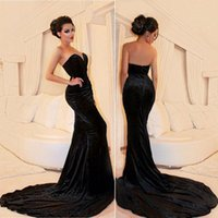 Wholesale 2017 Sexy Black Velvet Prom Dresses Cheap Sweetheart Backless Fitted Sleeveless Vestidos De Fiesta Evening Gowns with Sweep Train