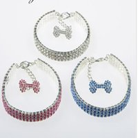 Wholesale luxury sparkling crystal rhinestone necklace for dogs pet collar fashion dog collar four color and size is available