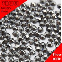 Wholesale Sliver plate crystal Hot drilling Rhinestones Flatback Round gross in a Nail Art Hot Fix Shoes Rhinestones