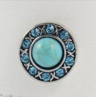 Wholesale Noosa Turquoise Buttons With Rhinestone Fit mm mm Snap Nacklace Bracelet Jewelry Triangle Round Designs Chunk Snap Button