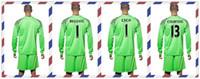 Wholesale Cheap Uniforms Kit Chelsea BEGOVIC CECH Courtois Goalkeeper Green Soccer Jersey Long Sleeve Jerseys