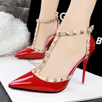 belt buckle covers - High heeled sandals European fashion sexy nightclub fine with high with shallow mouth pointed hollow rivets T word belt gladiator sandals