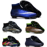 Wholesale New original mens Superfly FG CR7 Soccer Shoes Hypervenom Phantom II hot sale SOCCER Cleats High Ankle Football Boots Outdoor Soccer Cleats