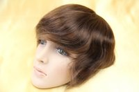 Wholesale Tndian Human Hair hair pieces mono base Men s Toupee soft silk staight tanlge free no shedding