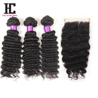 Cheap Brazilian Deep Wave With Closure 7a Brazilian Virgin Hair 3 Bundles With Closure Brazilian Deep Curly Virgin Hair With Closure