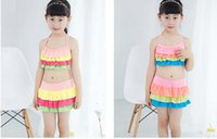 Wholesale Cute girl swimwear Kids split skirt bikini swimsuit Children striped bathing costume Beach wear Pants Hot springs swimming suit New