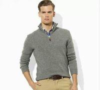 Wholesale new mens mans Men s long sleeved sweater Zipper collar Jumper Shirt sweater S XXXL