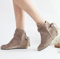 Wholesale Short Wedges Sandals - Fashion women's cut-outs Boots Spring  Summer short Boots Inside High -heeled Shoes large size 35-43 Sandals  Cool boots