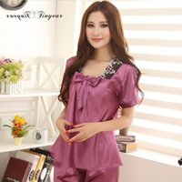 Wholesale Satin Night Suits - Wholesale-2016 Free shipping silk nightgown set breathable short sleeve v neck sleepwear satin night suit for women multi color option