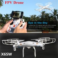 Wholesale New Camera Drones X6SW SYMA FPV WIFI RC Drone Helicopter Headless Quadcopter with HD Camera G Axis Real Time RC Helicopter Toy Free DH